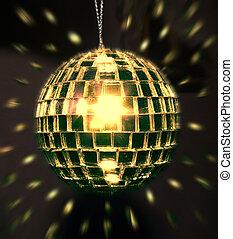 dourado, bola, discoteca