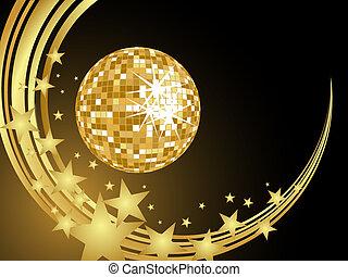 dourado, bola, espelho