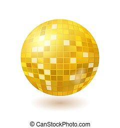 dourado, bola, isolado, discoteca, fundo, espelho, branca