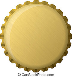 dourado, boné garrafa, ilustração