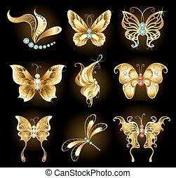 dourado, borboletas, jogo
