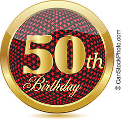 dourado, botão, 50, aniversário, th