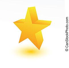 dourado, branca, estrela,  3D