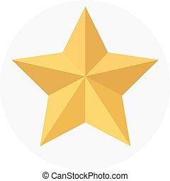 dourado, branca, estrela, isolado, fundo