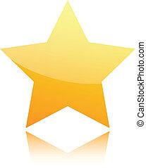 dourado, branca, estrela, isolado
