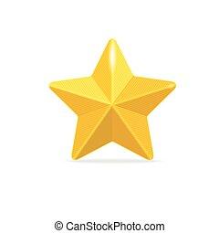 dourado, branca, vetorial, estrela, isolado