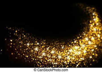 dourado, brilhar, rastro, com, estrelas, fundo