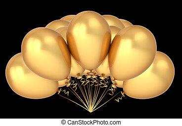 dourado, bunch., decoração, aniversário, luxo, partido, balões