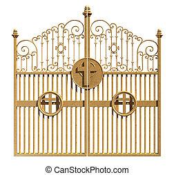 dourado, céus, isolado, portões