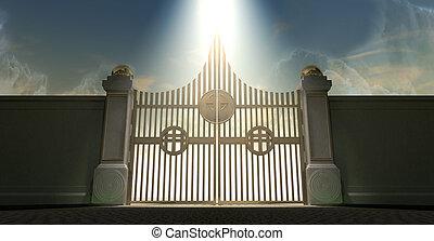 dourado, céus, Perolado, portões