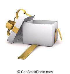 dourado, caixa papelão, vazio, presente
