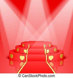 dourado, carpet., cena, vermelho, corações