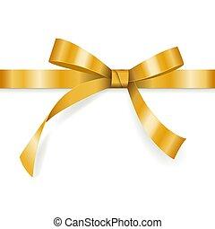 dourado, cartão presente, decoração, branca, isolado, arco, vetorial, fundo, horizontais, feriado, desenho, fita, saudação
