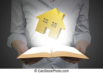 dourado, casa, livro, segurar passa, abertos
