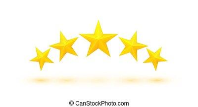 dourado, cinco, estrelas