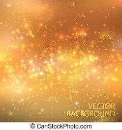 dourado, cintilante, fundo, com, glowing, faíscas, e, glitter., brilhante, feriado, ilustração