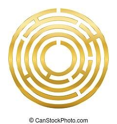 dourado, circular, labirinto