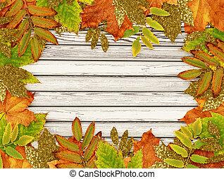 dourado, coloridos, folhas, outono, madeira, branca, quadro