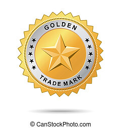 dourado, comércio, marca, etiqueta
