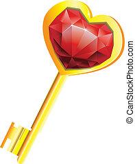 dourado, conceito, ame coração, -, diamante, tecla