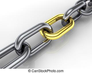 dourado, conceito, corrente, cohesiveness, link, 3d