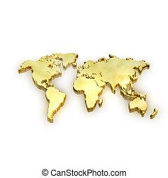 dourado, conceito, sucesso, negócio, mapa, global, -