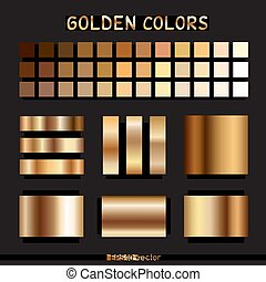 dourado, cor, gradiente, modelo
