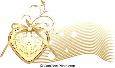 dourado, coração, com, arco