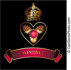 dourado, coração, símbolo, coroa