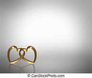 dourado, corações, 3d, casório, modelo