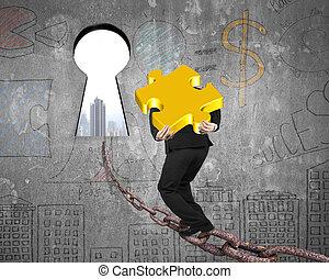 dourado, corrente, quebra-cabeça, carregar, buraco fechadura, cityscape, direção, homem