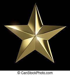 dourado, cortando, estrela, isolado, experiência preta,...