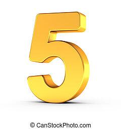 dourado, cortando, polido, objeto, numere cinco, caminho