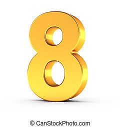 dourado, cortando, polido, objeto, numere oito, caminho