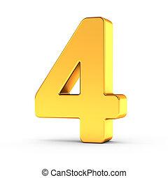 dourado, cortando, polido, objeto, numere quatro, caminho