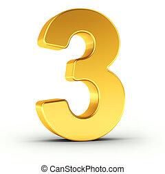dourado, cortando, polido, objeto, numere três, caminho