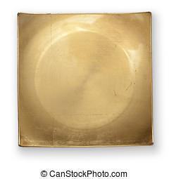 dourado, cortando, prato, caminho