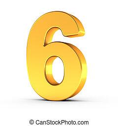 dourado, cortando, seis, polido, objeto, número, caminho