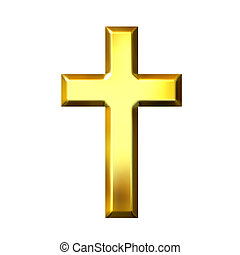 dourado, crucifixos, 3d