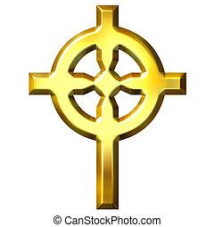 dourado, cruz céltica, 3d