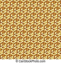 dourado, cubo, padrão, quadro, seamless, textura, buraco, óptico, fundo, ilusão, vazio