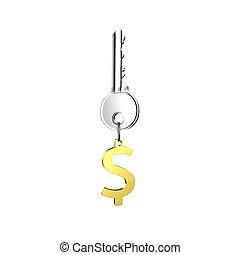 dourado, dólar, keyring, sinal, forma, tecla, prata