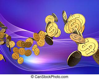 dourado, dólar, onda