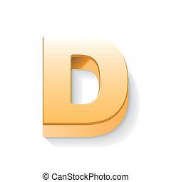 dourado, d, letra, 3d