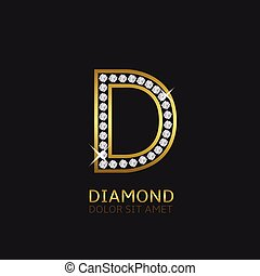 dourado, d, letra