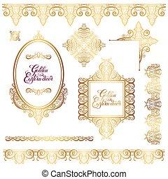 dourado, decoração, jogo, elementos, oriental, quadro,...