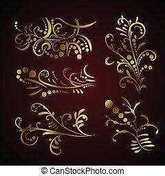 dourado, decoração, jogo, vitoriano, elementos, ornate, página