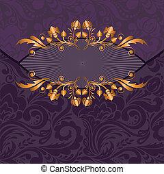 dourado, decoração, ligado, um, roxo