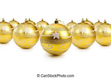 dourado, decoração natal, bolas, branco, fundo, com, espaço cópia