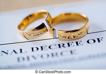 dourado, decreto, divórcio, anéis, dois, quebrada, casório,...
